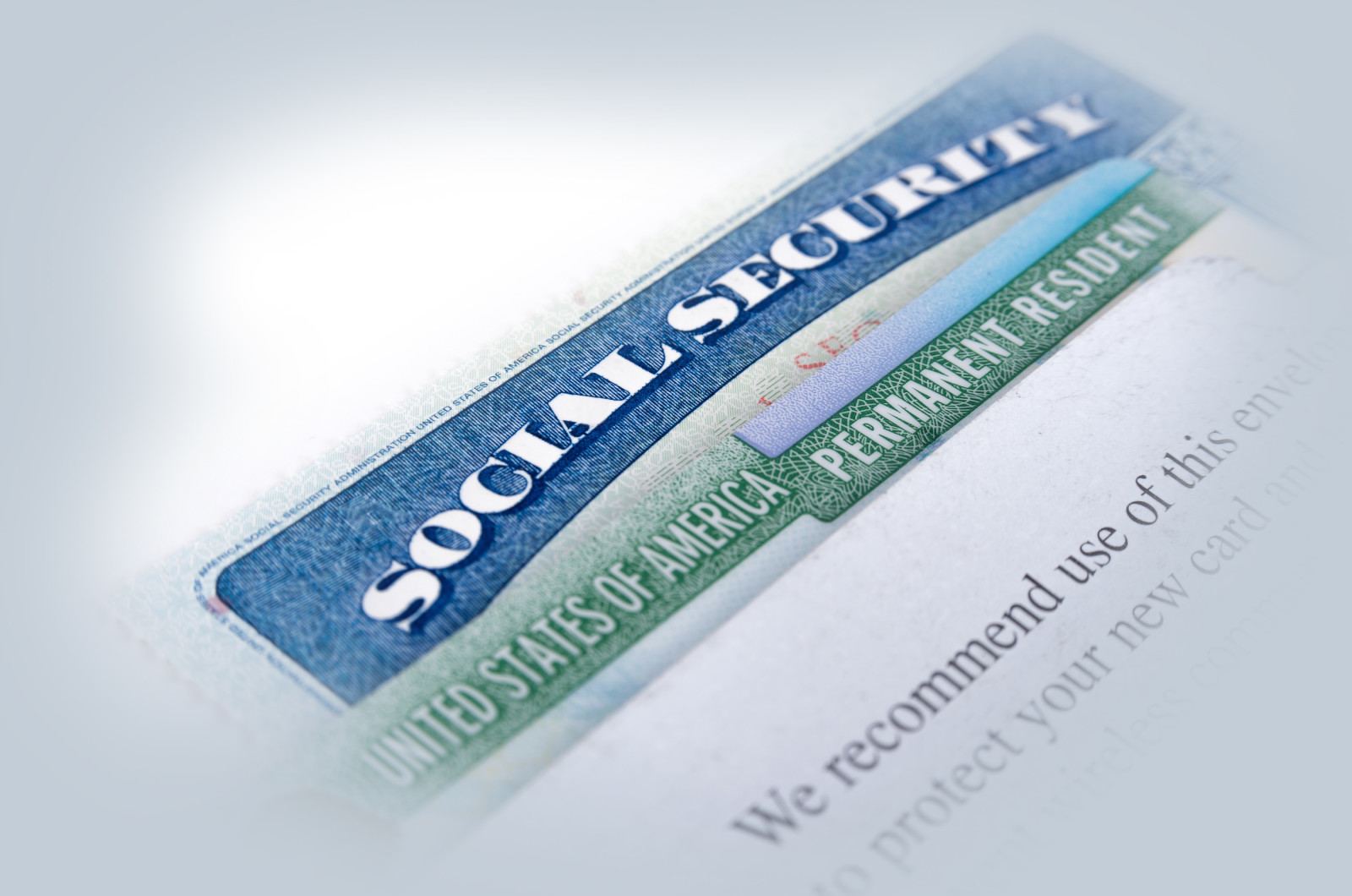 United States of America social security and green card on white